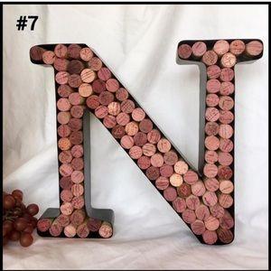 """Wine Cork Letter """"N, #7 ~ Cork Filled Metal Frame"""